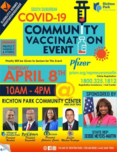 Richton Park Vaccination Event TOMORROW 10am-4pm