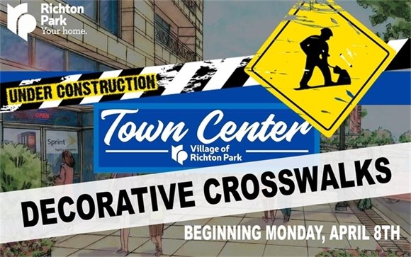 "The ""Town Center Decorative Crosswalk Construction Project"" will begin Monday, April 8th."