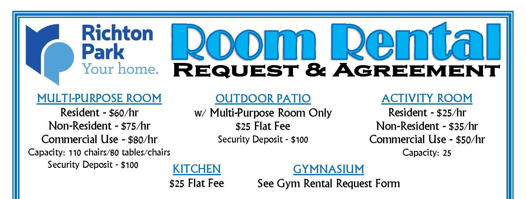 ROOM RENTAL REQUEST FORM - Rates