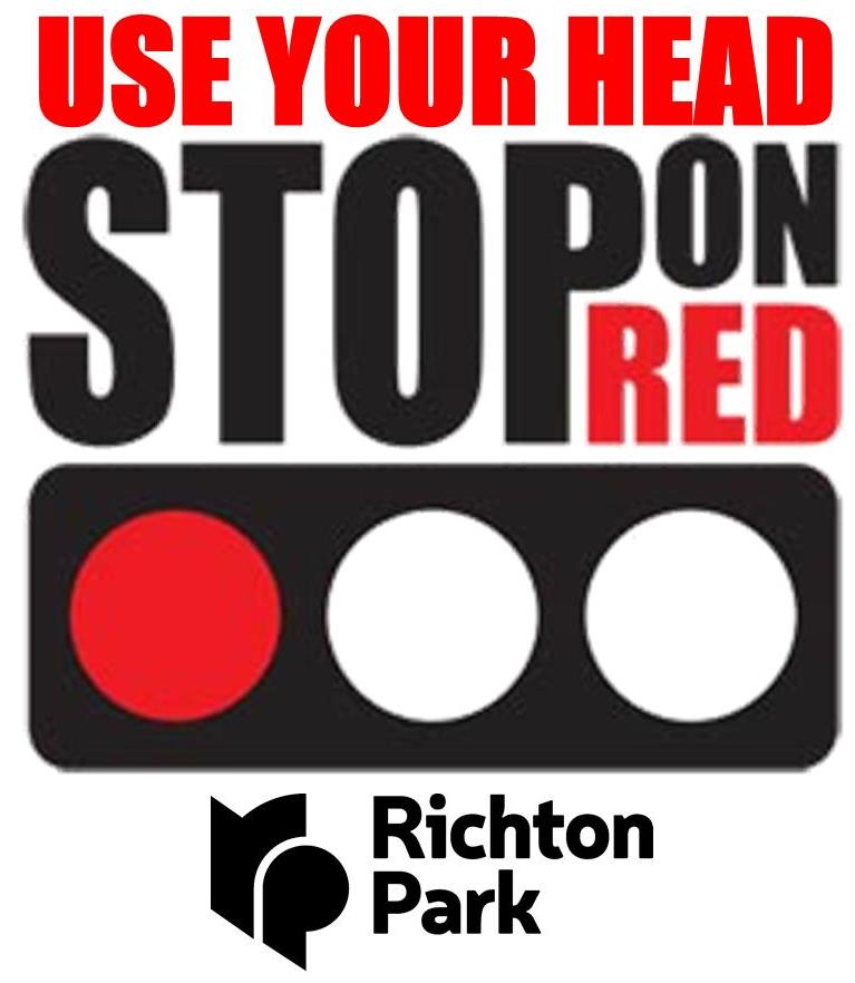 Use Your Head. Stop On Red. Logo