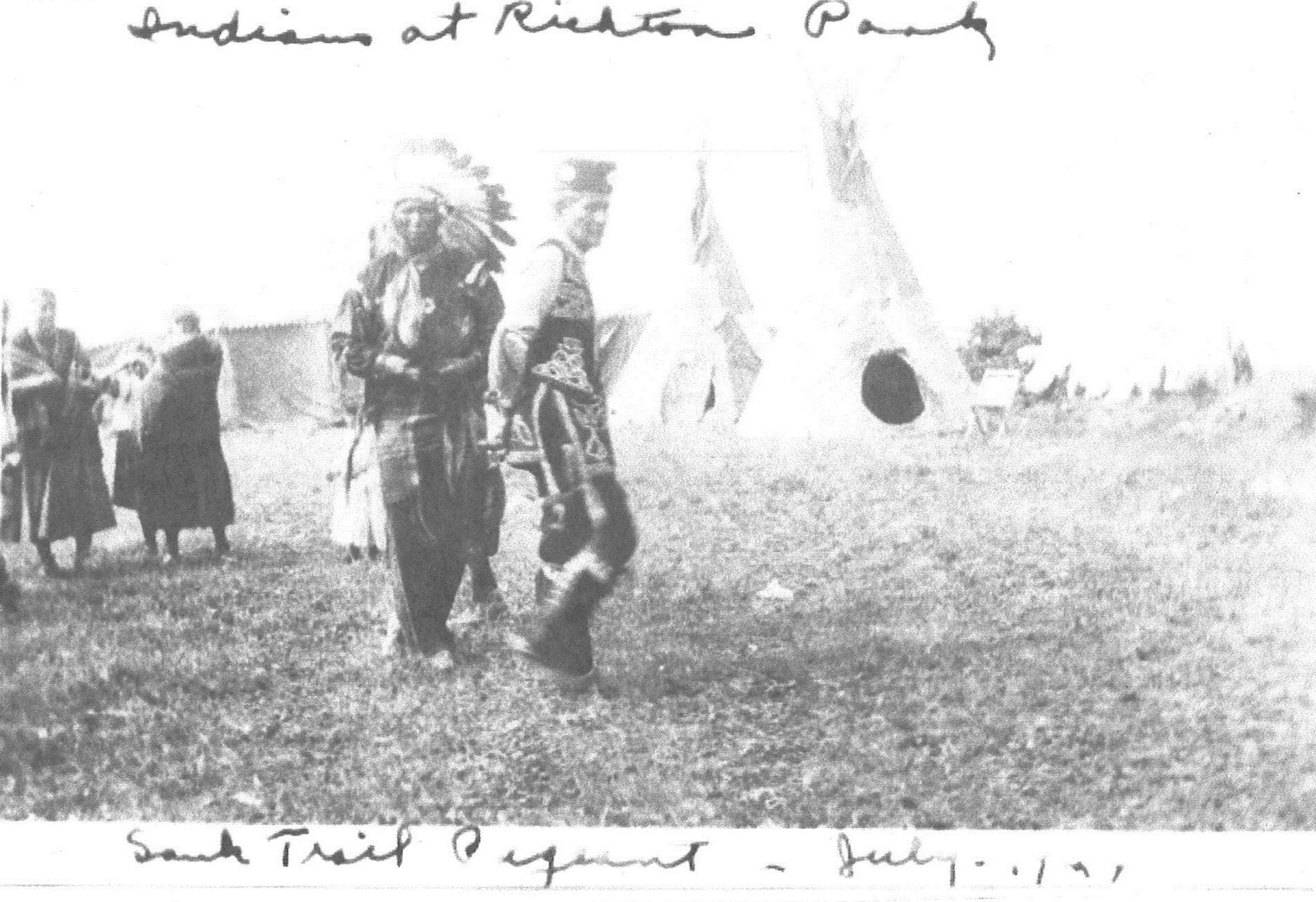 Native Americans at Sauk Trail Pageant July 1926