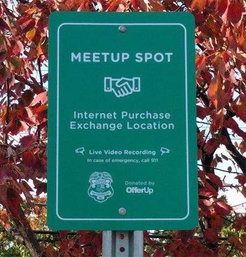 MeetUp Spot for Online Transactions Sign