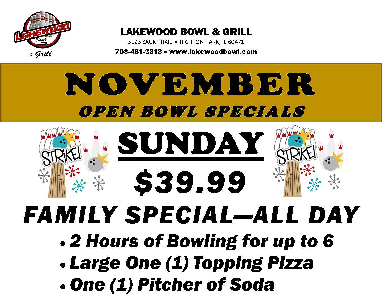 Lakewood Bowl Novembe 2017 Open Play - Sunday