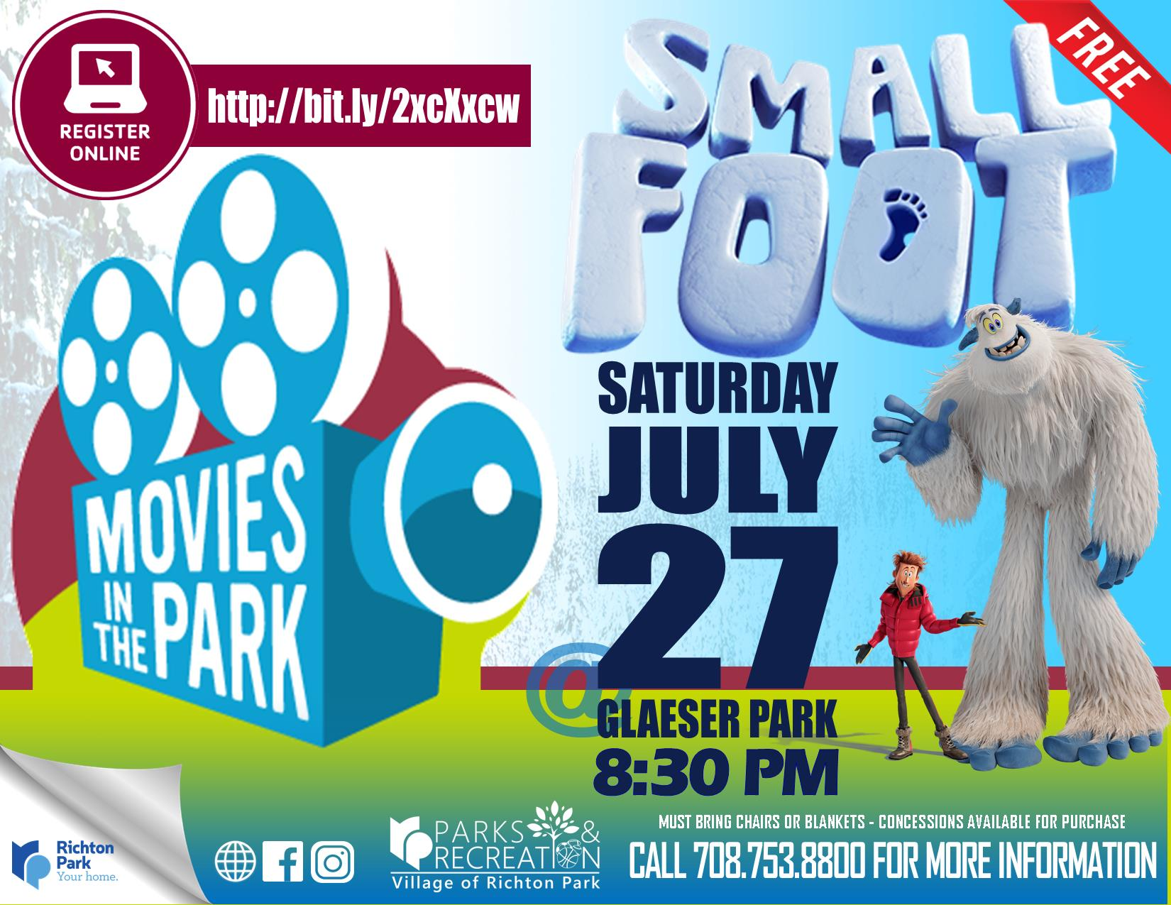 Movies in the Park - Smallfoot - July 2019